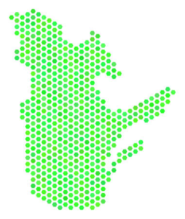 Eco green Quebec Province map. Vector hexagon territory map in green color hues. Abstract Quebec Province map collage is done with hexagonal spots.