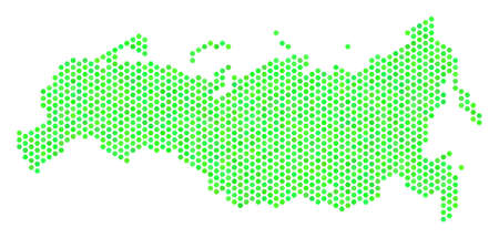 Green Russia map. Vector honeycomb territory map in eco green color tints. Abstract Russia map composition is composed with hexagon spots.