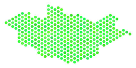 Green Mongolia map. Vector hexagon territory map drawn with green color tones. Abstract Mongolia map concept is done of hex tile blots. Illustration