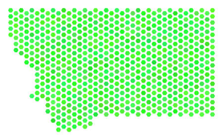 Green Montana State Map. Vector Hex-tile Territory Map Using ...