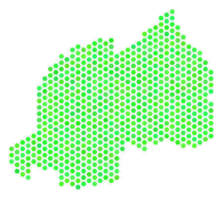 Fresh green Rwanda map. Vector hex-tile geographic map in fresh green color tints. Abstract Rwanda map collage is constructed of hex tile blots.