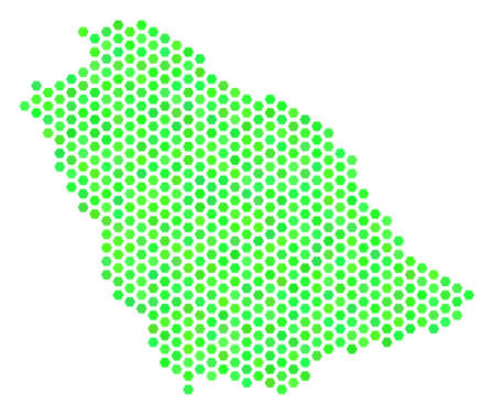 Eco green Saudi Arabia map. Vector hex-tile geographic map using green color shades. Abstract Saudi Arabia map mosaic is constructed with hexagon items.
