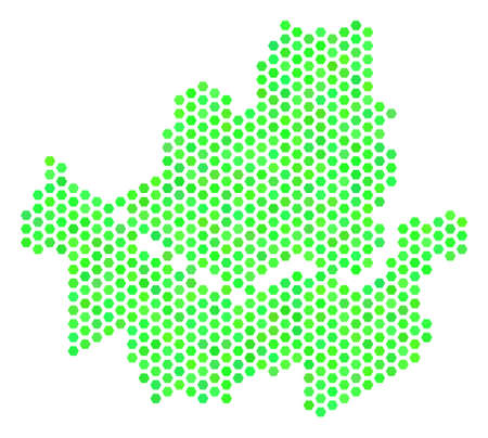 Fresh green Seoul City map. Vector hexagon territory scheme in green color tones. Abstract Seoul City map composition is made of hex tile elements.