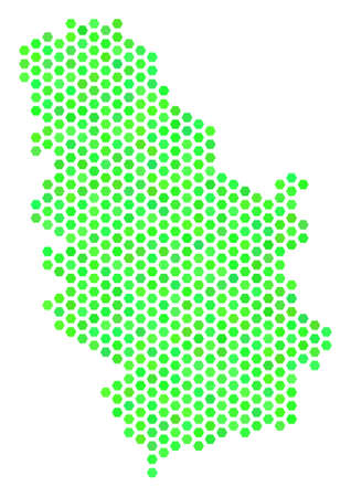 Fresh green Serbia map. Vector hex-tile territorial map in fresh green color tones. Abstract Serbia map mosaic is composed with hex tile items. Illustration