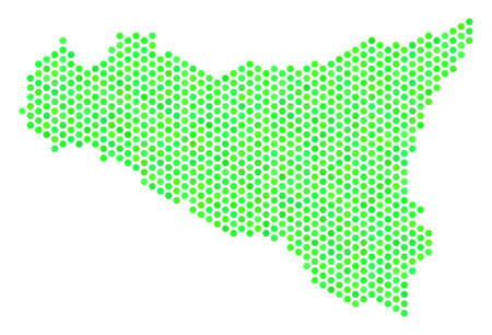 Green Sicilia map. Vector hexagon territory map using fresh green color tinges. Abstract Sicilia map composition is designed with hexagon spots. Ilustração