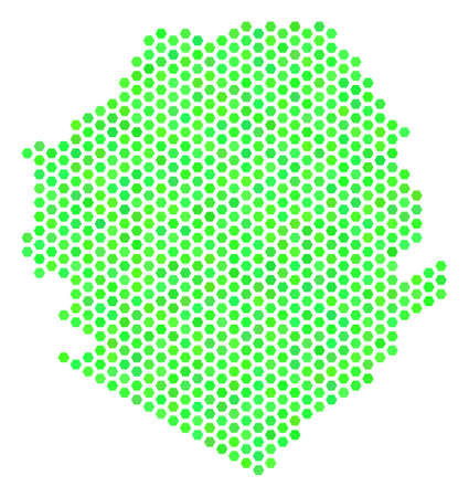 Eco green Sierra Leone map. Vector hex-tile geographic map drawn with fresh green color tints. Abstract Sierra Leone map composition is done with hexagonal blots. Illustration