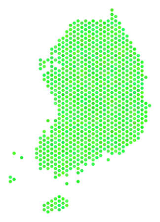 Fresh green South Korea map. Vector hexagonal territorial plan using eco green color shades. Abstract South Korea map composition is formed of hex-tile spots.
