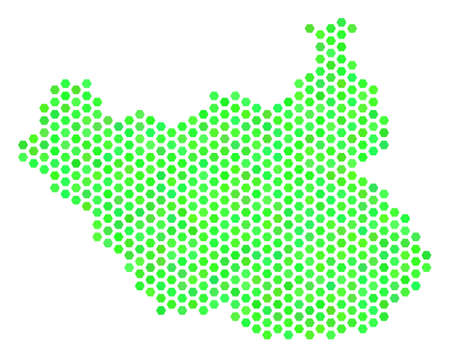 Fresh green South Sudan map. Vector honeycomb geographic plan drawn with fresh green color tones. Abstract South Sudan map concept is created of hex tile blots.