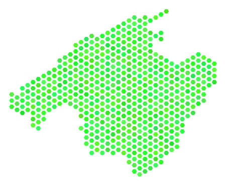 Eco green Spain Mallorca Island map. Vector hexagon geographic map using eco green color hues. Abstract Spain Mallorca Island map concept is formed with hexagonal blots.  イラスト・ベクター素材