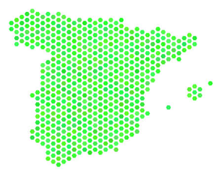 Fresh green Spain map. Vector hexagon territorial scheme in fresh green color tints. Abstract Spain map mosaic is done of hexagonal elements.