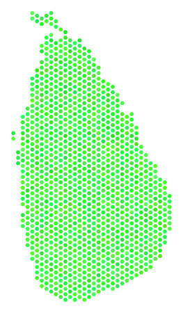 Green Sri Lanka Island map. Vector hexagonal geographic map in fresh green color tints. Abstract Sri Lanka Island map mosaic is designed with hexagonal items. Illustration