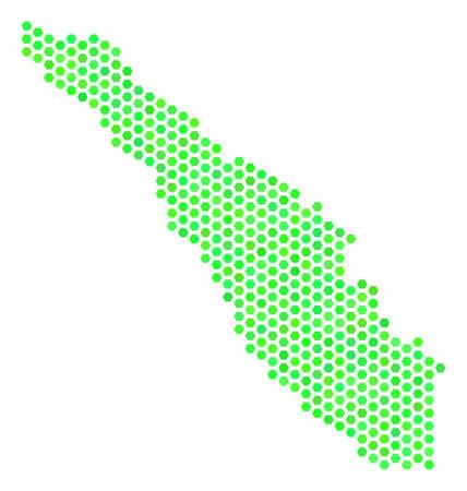 Eco green Sumatra Island map. Vector hexagon geographic map in fresh green color hues. Abstract Sumatra Island map concept is created of hexagon elements.