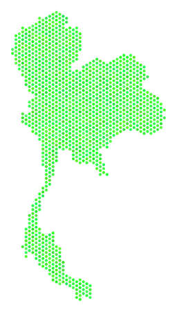 Fresh green Thailand map. Vector hexagon territory scheme in green color tinges. Abstract Thailand map concept is composed with hex tile blots.