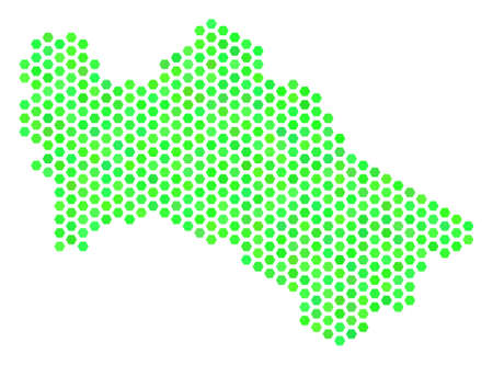 Fresh green Turkmenistan map. Vector honeycomb territorial scheme drawn with green color tones. Abstract Turkmenistan map composition is made of hexagon items.