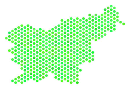Eco green Slovenia map. Vector hex-tile territory map drawn with fresh green color variations. Abstract Slovenia map concept is created of hex tile blots.