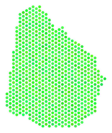 Eco green Uruguay map. Vector hex-tile geographic plan using green color tones. Abstract Uruguay map composition is made of hex tile items. Illustration