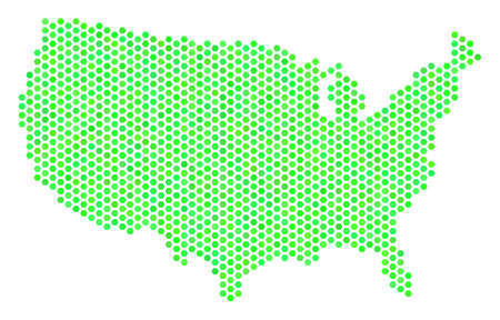 Eco green USA map. Vector hex tile territorial map drawn with fresh green color tones. Abstract USA map mosaic is designed of hex tile elements. Illustration