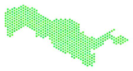 Green Uzbekistan map. Vector honeycomb territory map drawn with eco green color tints. Abstract Uzbekistan map mosaic is made of hexagonal spots.