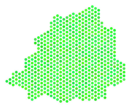 Green Vatican map. Vector honeycomb geographic map in eco green color tones. Abstract Vatican map mosaic is combined of hexagon spots.