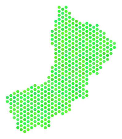 Eco green Yemen map. Vector hexagon territorial plan in fresh green color tinges. Abstract Yemen map mosaic is formed with hexagonal elements.