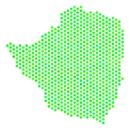 Eco green Zimbabwe map. Vector honeycomb geographic plan using green color hues. Abstract Zimbabwe map composition is done of honeycomb blots.