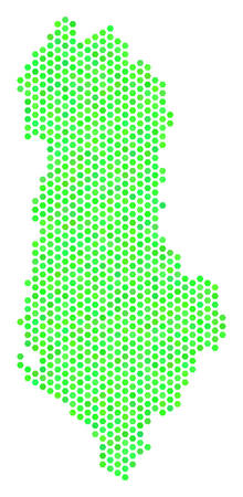 Fresh green Albania map. Vector hex-tile territory scheme using fresh green color hues. Abstract Albania map mosaic is made of honeycomb spots. Illustration