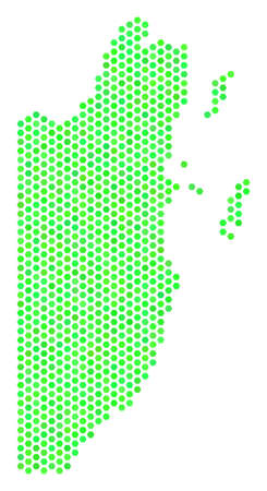 Fresh green Belize map. Vector honeycomb geographic map drawn with eco green color shades. Abstract Belize map composition is constructed of hex tile elements. Illustration
