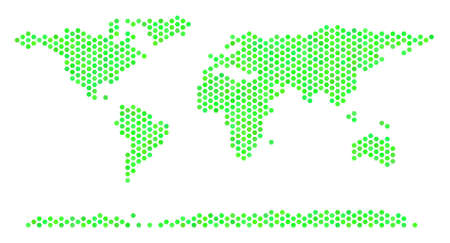 Green World Continent map. Vector hex-tile territorial map in green color shades. Abstract World Continent map mosaic is organized with hex tile blots.
