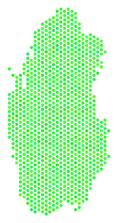 Eco green Qatar map. Vector honeycomb territory scheme drawn with fresh green color tinges. Abstract Qatar map collage is combined with hexagon blots. Illustration