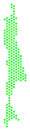 Green Sakhalin Island map. Vector honeycomb territory map drawn with eco green color tints. Abstract Sakhalin Island map collage is created of hex-tile blots.