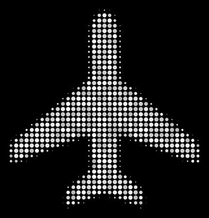 Air plane halftone vector icon. Illustration style is pixel iconic air plane symbol on a black background. Halftone matrix is created from round cells. Illustration