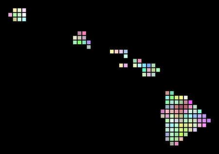 Dot Havaii Islands map. Vector geographic map in smoothed arbitrary colors on a black background. Vector mosaic of Havaii Islands map organized with regular small rectangles.
