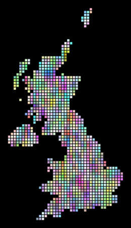 Dot United Kingdom map. Vector geographic map in smoothed arbitrary colors on a black background. Vector composition of United Kingdom map constructed of regular square dots.