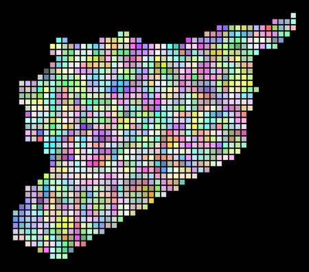 Dotted Syria map. Vector geographic map in smoothed arbitrary colors on a black background. Vector composition of Syria map made of regular dots. Çizim