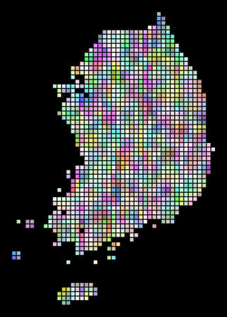 Dot South Korea map. Vector geographic map in smoothed arbitrary colors on a black background. Vector pattern of South Korea map formed of regular dots.