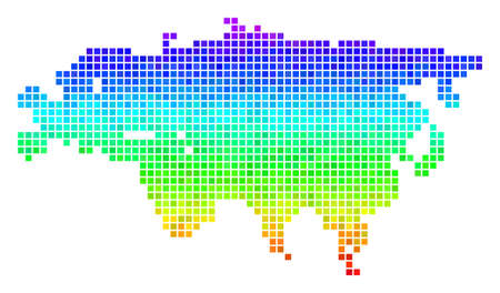 Dot Eurasia map. Vector territory scheme drawn with bright spectral color tones with vertical gradient. Color vector collage of Eurasia map organized with rectangle cells.