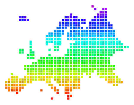 Dot Europe map. Vector territorial scheme using impressive rainbow color variations with vertical gradient. Colored vector collage of Europe map designed of rectangle points. Illustration