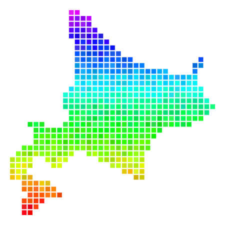 Dot Hokkaido Island map. Vector geographic map using bright spectral color variations with vertical gradient. Multicolored vector pattern of Hokkaido Island map created with square particles. Illustration