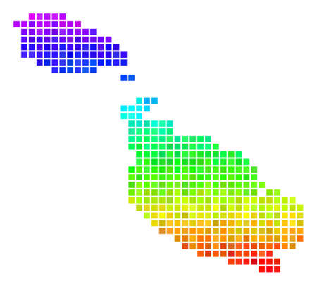 Dotted Malta Island map. Vector territory scheme in bright rainbow color tinges with vertical gradient. Color vector pattern of Malta Island map organized with rectangle items.