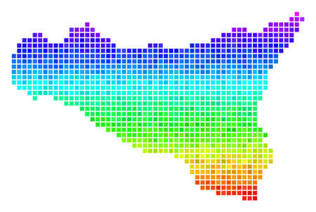 Dot Sicilia map. Vector geographic scheme in impressive spectral color variations with vertical gradient. Colorful vector mosaic of Sicilia map combined with square points. Illustration