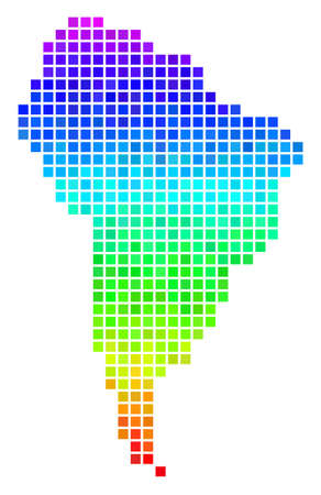 Dot South America map. Vector territorial scheme drawn with impressive spectral color variations with vertical gradient.