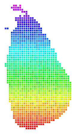Pixel Sri Lanka Island map. Vector geographic map using impressive spectrum color shades with vertical gradient. Color vector collage of Sri Lanka Island map combined from square points.