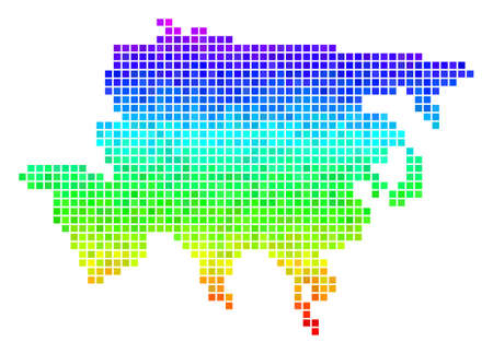 Pixel Asia map. Vector territory scheme drawn with bright rainbow color tones with vertical gradient. Color vector mosaic of Asia map organized from rectangle dots. Illustration