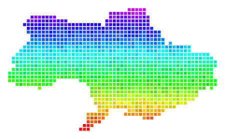 Pixel Ukraine map. Vector territory scheme drawn with impressive spectrum color tints with vertical gradient. Multicolored vector pattern of Ukraine map created with rectangle dots.  イラスト・ベクター素材