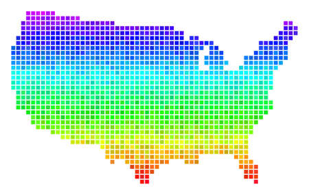 Dotted USA map. Vector geographic scheme in bright spectrum color tones with vertical gradient. Color vector pattern of USA map designed with square cells. Illustration