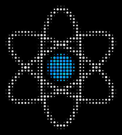 Atom halftone vector icon. Illustration style is dotted iconic atom symbol on a black background. Halftone texture is build of spheric elements. Illustration