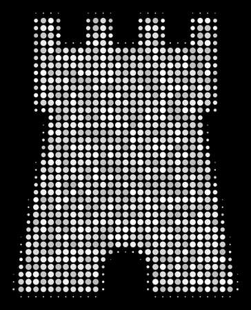 Bulwark tower halftone vector icon. Illustration style is dot iconic bulwark tower symbol on a black background. Halftone structure is made of round elements. Illustration