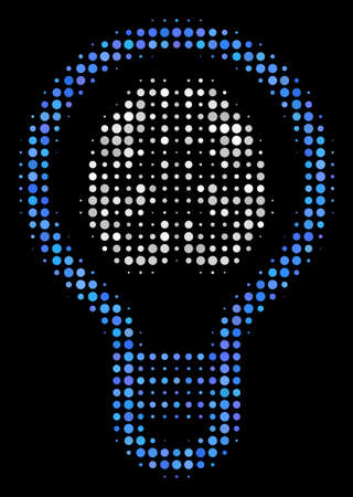 Brain bulb halftone vector icon. Illustration style is dotted iconic brain bulb symbol on a black background. Halftone matrix is build from round spots.