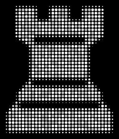 Chess tower halftone vector icon. Illustration style is pixel iconic chess tower symbol on a black background. Halftone texture is constructed from round pixels.