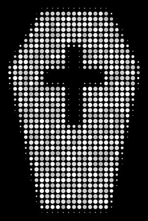 Coffin halftone vector icon. Illustration style is pixel iconic coffin symbol on a black background. Halftone texture is constructed with spheric blots. Illustration